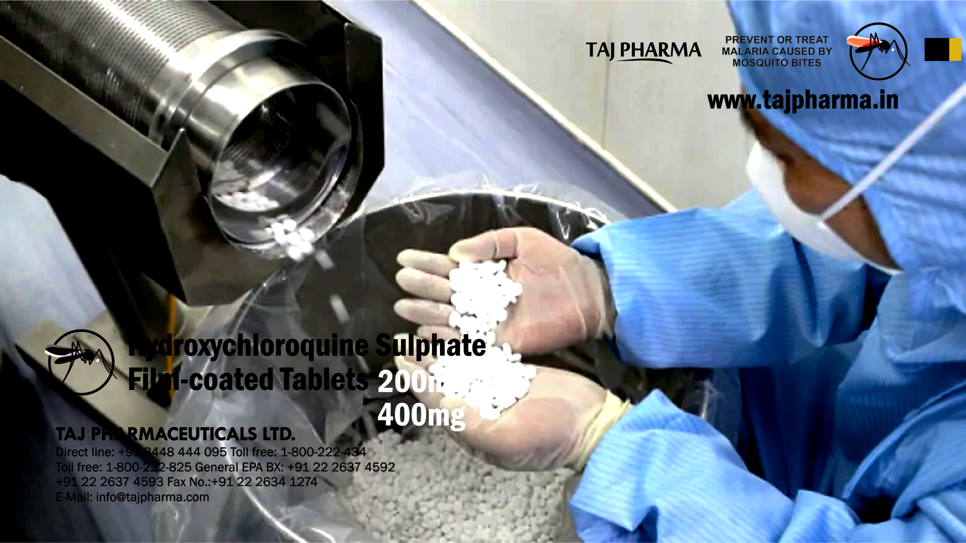 Taj Pharmaceuticals as Manufacturer of Hydroxychloroquine sulphate tablets